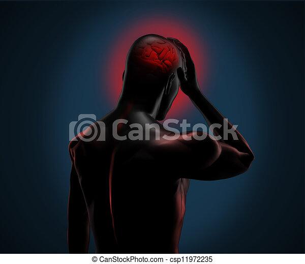 numérique, figure, avoir, mal tête - csp11972235