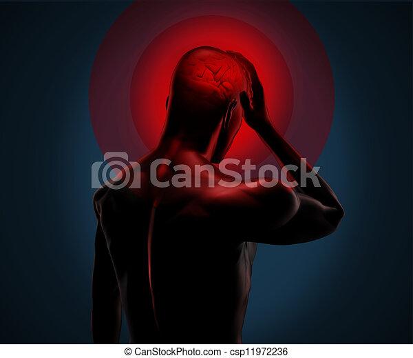 numérique, mal tête, avoir, corps - csp11972236
