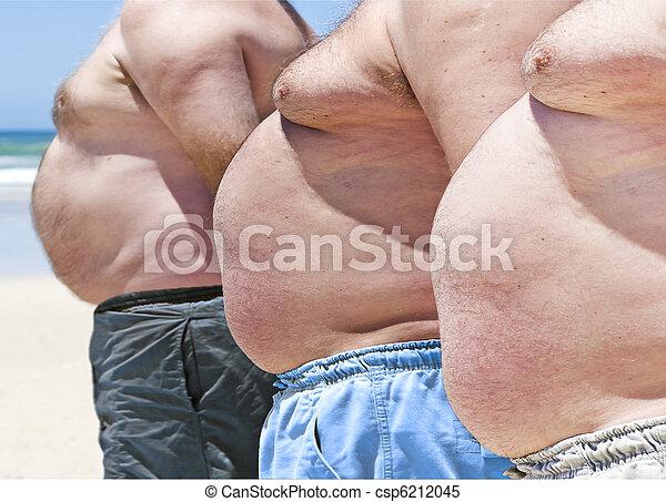 obèse, hommes, trois, graisse, haut fin, plage - csp6212045
