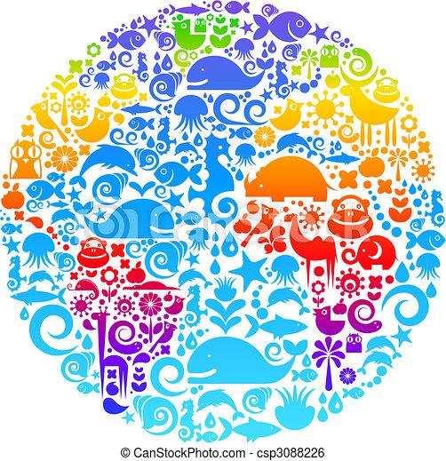 oiseaux, fait, animaux, contour, icônes, globe, fleurs - csp3088226