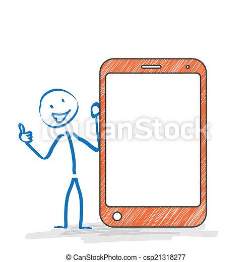 ok, stickman, smartphone - csp21318277