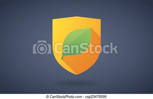 ombre, feuille, bouclier, long, icône - csp23476595