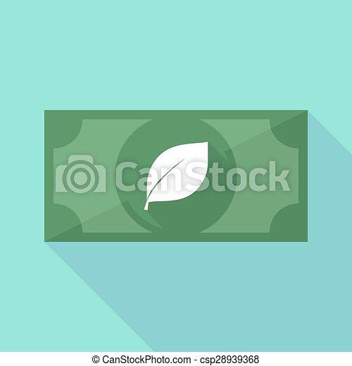 ombre, feuille, long, billet banque, icône - csp28939368