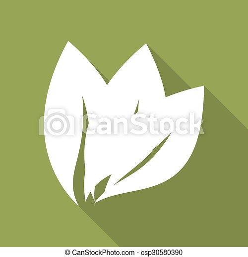 ombre, feuille, long, icône - csp30580390