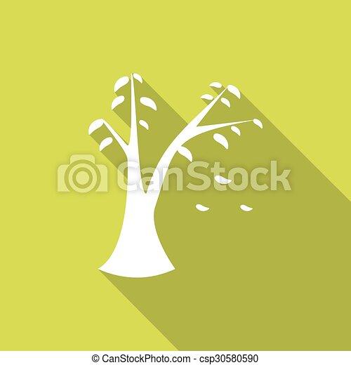 ombre, feuille, long, icône - csp30580590