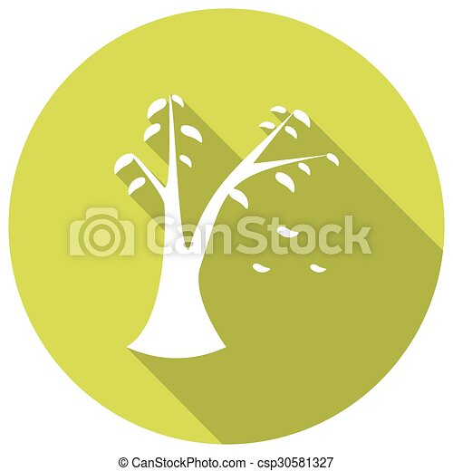 ombre, feuille, long, icône - csp30581327