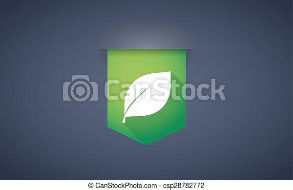 ombre, feuille, ruban, long, icône - csp28782772