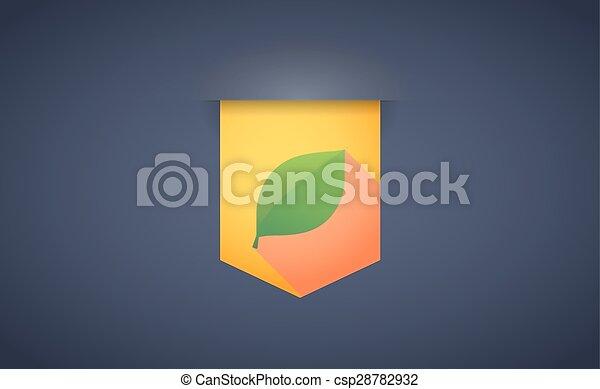 ombre, feuille, ruban, long, icône - csp28782932