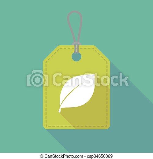 ombre, icône, feuille, long, étiquette - csp34650069