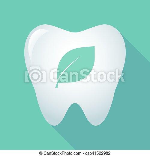 ombre, icône, feuille, long, dent - csp41522982
