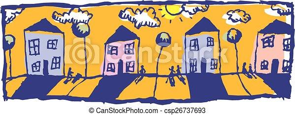 ombres, rue, ensoleillé - csp26737693