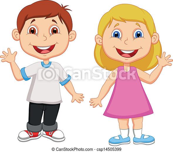 onduler, garçon, girl, dessin animé, main - csp14505399