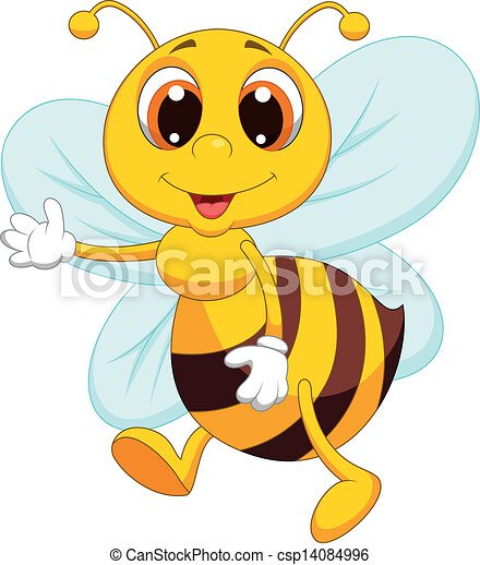 onduler, mignon, dessin animé, abeille - csp14084996