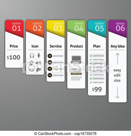 options, template., diagramme, utilisé, toile, étape, gabarit, vecteur, infographics, conception, élément, être, flot travail, boîte, haut, disposition, nombre, conception, illustration., résumé, bannière - csp16735078