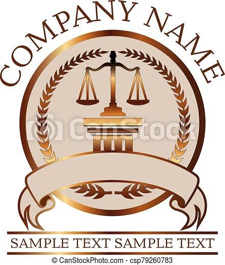 or, avocat, justice, -, balances, cachet, droit & loi, colonne, ou, dorique - csp79260783