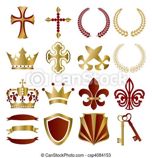 or, ensemble, rouges, ornements - csp4084153
