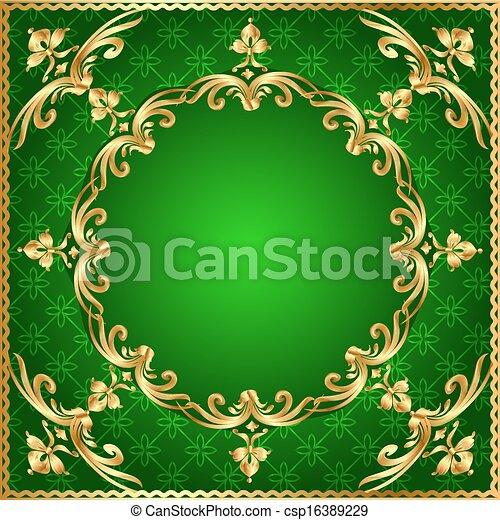 or, fond, vert, cadre, ornement - csp16389229