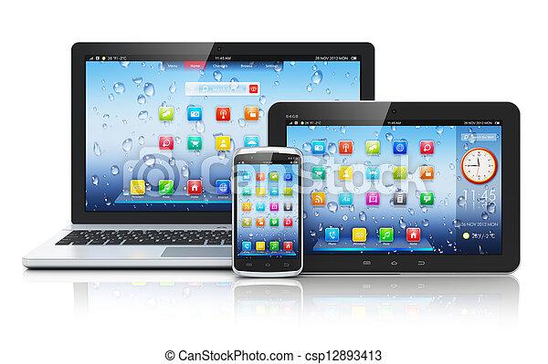 ordinateur portable, pc tablette, smartphone - csp12893413