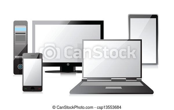 ordinateur portable, smartphone, informatique, tablette - csp13553684