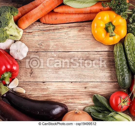 organique, espace, légumes, text., nourriture., bois, fond - csp19499512