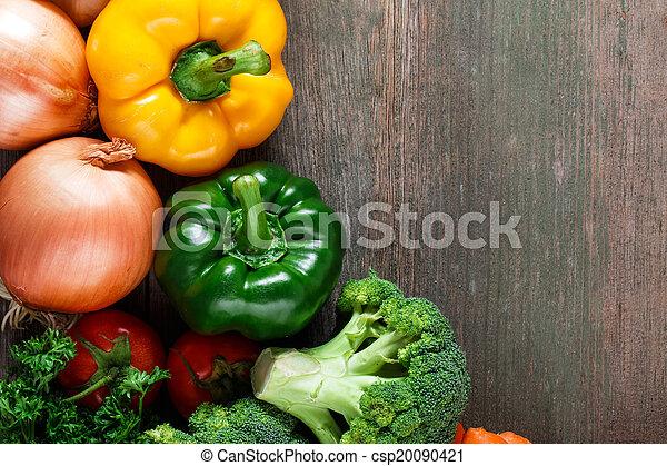 organique, espace, légumes, text., nourriture., bois, fond - csp20090421