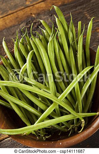 organique, francais, cru, haricots verts, frais - csp14111687