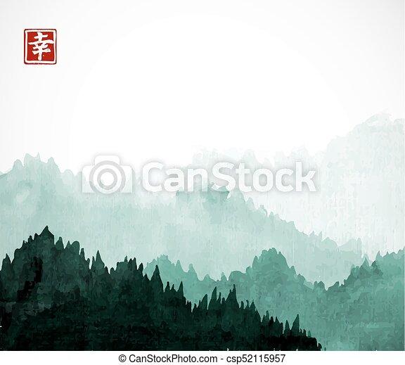 oriental, traditionnel, montagnes, -, arbres, hiéroglyphe, happiness., sumi-e, peinture, u-sin, fog., forêt verte, encre, contient, go-hua - csp52115957