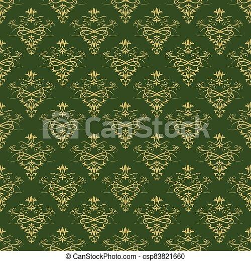 ornement, beau, vert sombre, or, fond - csp83821660