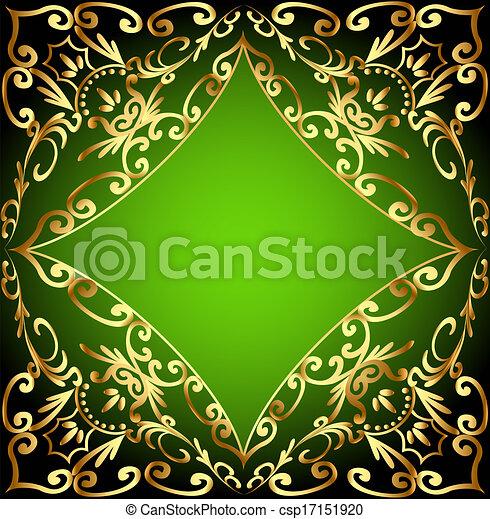 ornementation, or, fond, vert, cadre - csp17151920