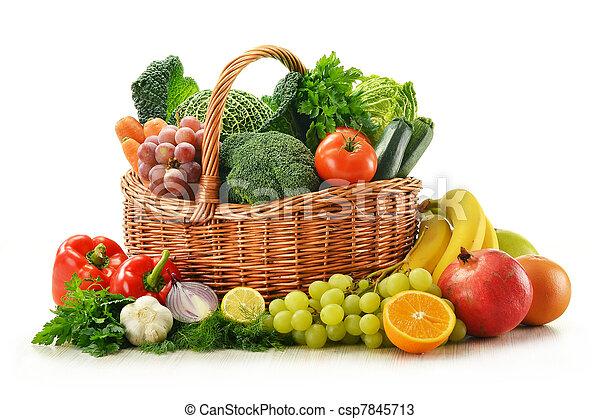 osier, légumes, isolé, fruits, panier, blanc, composition - csp7845713