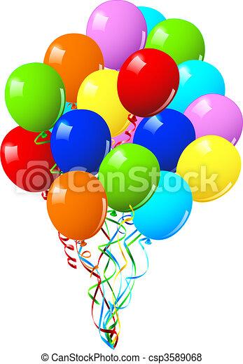 ou, fête, célébration anniversaire, ballons - csp3589068