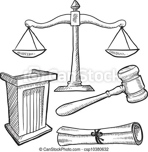 ou, justice, droit & loi, objets, croquis - csp10380632