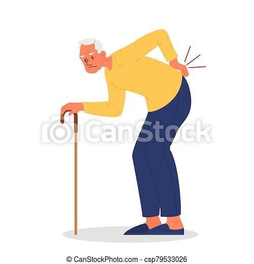 ou, vecteur, douleur, illustration, vieux, lombaire, homme, injury. - csp79533026