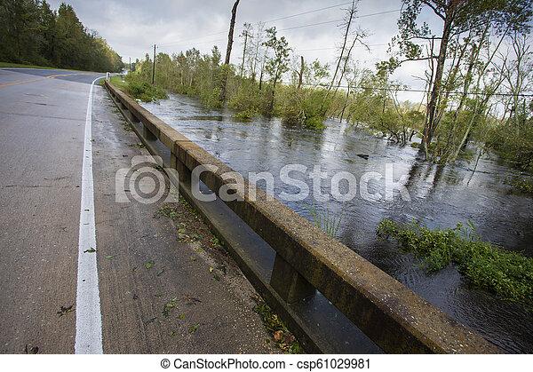 ouragan, florence, sur, eau, pont, inonder - csp61029981
