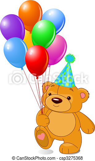 ours peluche, ballons - csp3275368