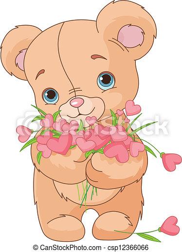 ours peluche, bouquet, cœurs, donner - csp12366066