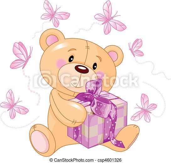 ours peluche, cadeau, rose - csp4601326