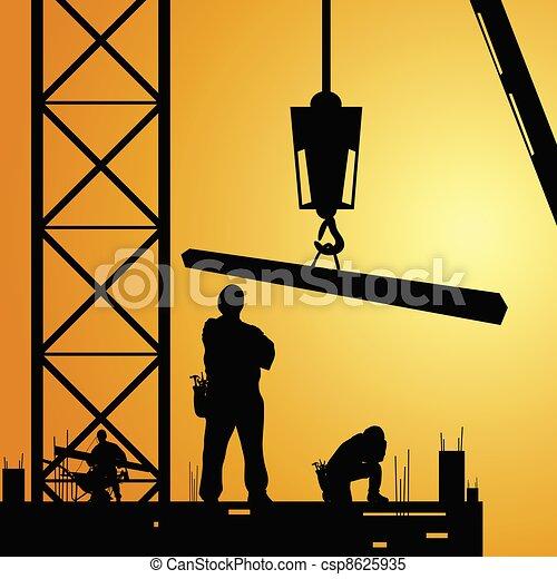 ouvrier, grue, travail, constuction, illustration - csp8625935