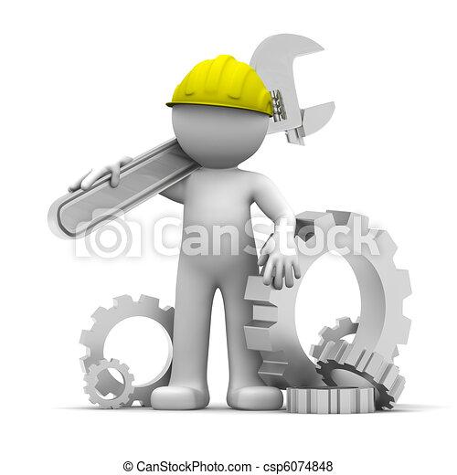 ouvrier industriel, clé, 3d - csp6074848