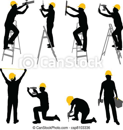 ouvriers, construction - csp8103336