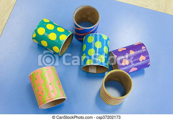 pédagogique, tubes, bricolage, coloré - csp37202173