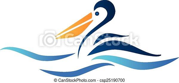 pélican, oiseau, logo - csp25190700