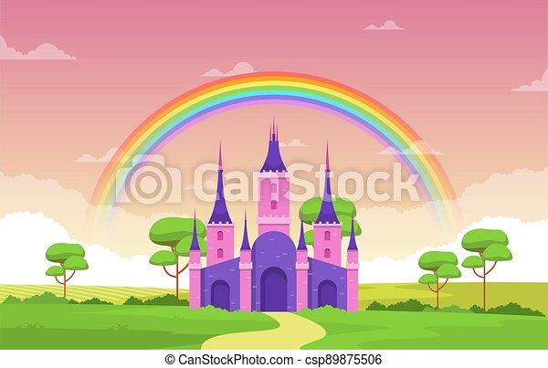 palais, illustration, fée, arc-en-ciel, contes, paysage, royaume fées, château - csp89875506
