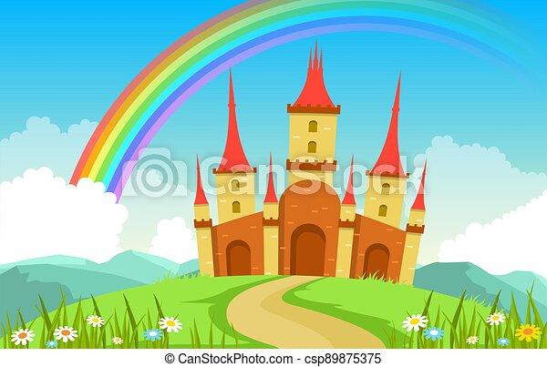 palais, illustration, fée, arc-en-ciel, contes, paysage, royaume fées, château - csp89875375