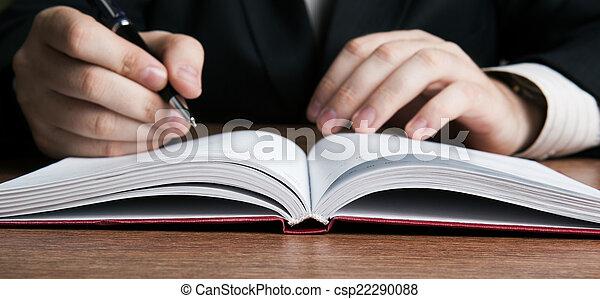 papier, écrivain, écrit, travail, stylo - csp22290088