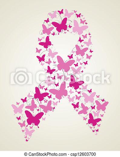 papillon, conscience, ruban, cancer, poitrine - csp12603700