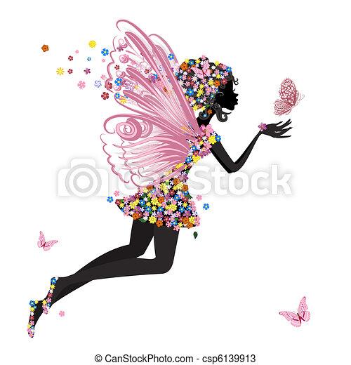 papillon, fée, fleur - csp6139913