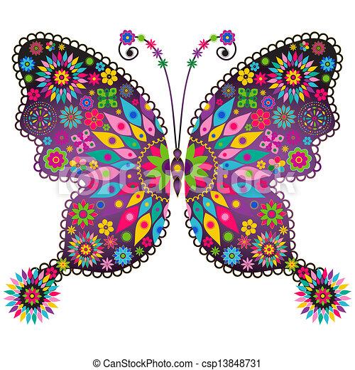papillon, fantasme, vif, vendange - csp13848731