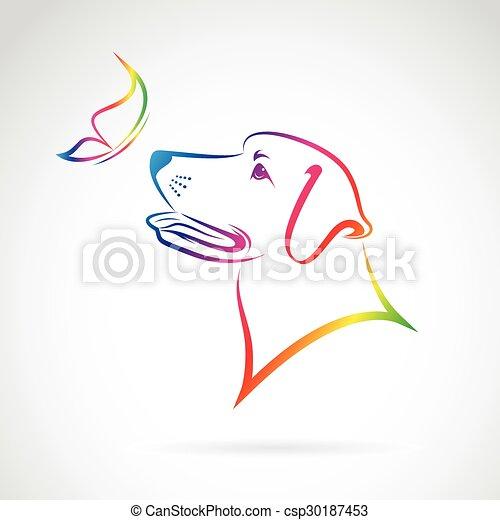 papillon, image, chien, vecteur, fond, blanc - csp30187453