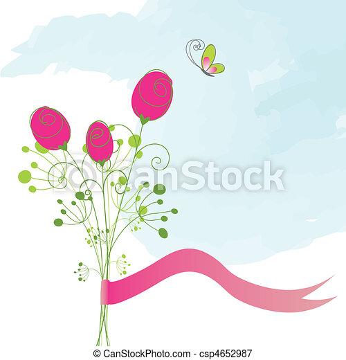 papillon, rose, résumé, rouges - csp4652987